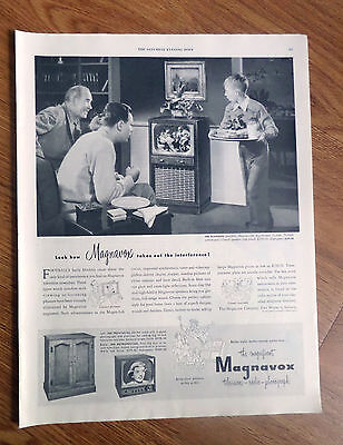 1950 Magnavox Radio-Phonograh TV Television Ad Football Theme Playhouse