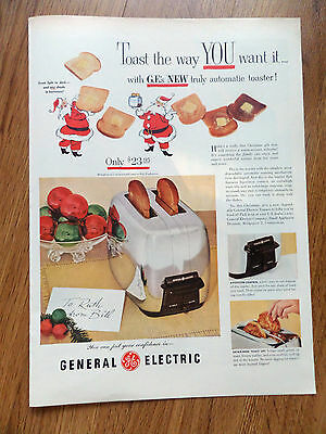 1953 Toastmaster Toaster Ad G. E.'s New Truly Automatic Toaster