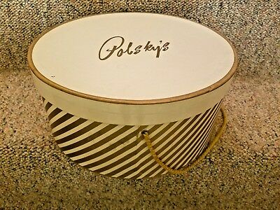 """Vintage Polsky's Department Store Hat Box Gold Stripe Round w Rope 12"""" x 5¾"""""""