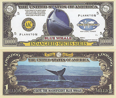 Two Blue Whale Endangered Species Novelty Money Bills #216