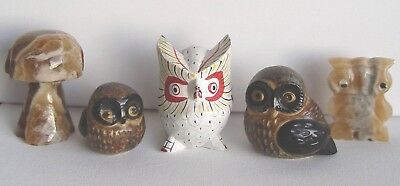 Vintage LOT COLLECTION of 4 OWLS & Mushroom ~ Marble Schroom MIXED Knick Knacks