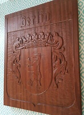 Berlin Coat of Arms Carved teak? Wood wall Plaque Germany