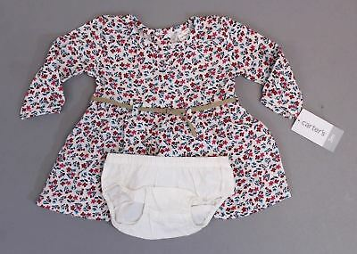 26494e0f2 Carter's Girls Long Sleeve Floral Belted Dress w/ Diaper Cover BF5 Size 3M  NWT
