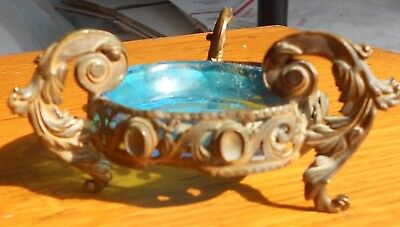 Antique Elegant French Brass & Blue Etched Glass Salt Pin Tray Footed