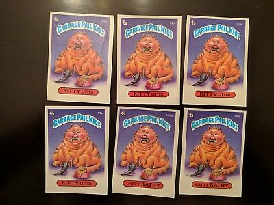 1986 GARBAGE PAIL KIDS CARDS #159A&B CATTY KATHY & KITTY LITTER - lot of 6