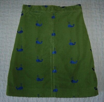 Lilly Pulitzer Green Corduroy Whale Embroidered Skirt, Girl's Size 8, Excellent!