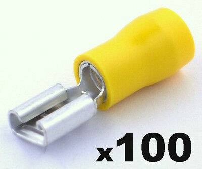 100x Insulated Yellow Female Electrical Wiring Spade Crimp Connector Terminals