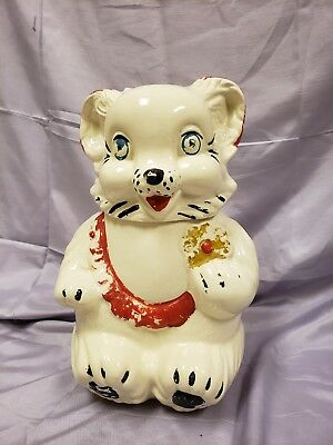 Vintage 1940's   Royal Ware Cookie Jar Teddy Bear Holding a Cookie