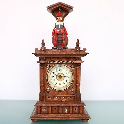 Antique JUNGHANS Mantel CUCKOO Clock PINOCCHIO DANCING! SUPER RARE! Black Forest