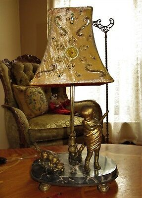 Antique French Cast Brass / Bronze Marble Table Lamps Light Fixture Chandelier