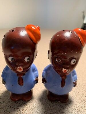 Vintage Salt & Pepper Shakers:  Black Americana Boys with Hats Japan