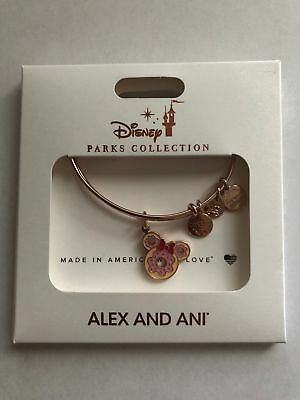 Disney Parks Minnie Donut Snack Food Rose Gold Charm Bracelet Alex & Ani New