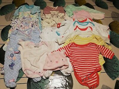 massive bundle baby girls clothes NEWBORN sleepsuits bodysuits first size