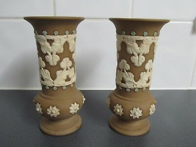 Pair of antique Royal Doulton Lambeth Silicon Ware vases Lovely Condition 15cms