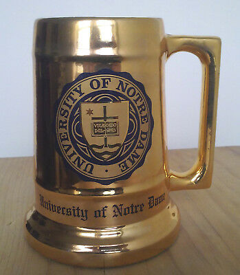 Nice NCAA University of Notre Dame Gold Color Stein