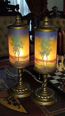 Pair Of Old Mantel Lamps Classique Handel Style Reverse Paint Cylinder Heavy