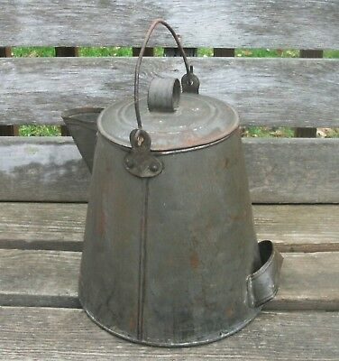 Antique Early LARGE SOLDERED TIN COWBOY COFFEEPOT Big 5 qt Metal Coffee Boiler