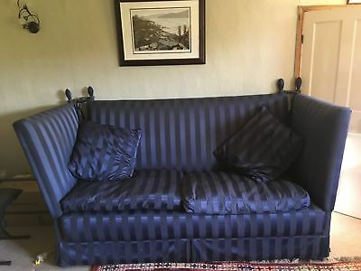 Antique Knole  Drop-arm sofa 2 seater navy blue upholstery COURIER DELIVERY