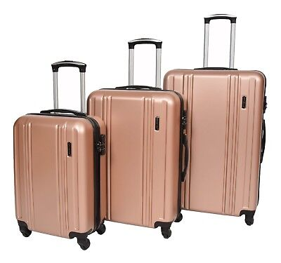 Hard Shell ABS 4 Wheel Spinner Suitcase Travel Luggage Lightweight Rose Gold NEW