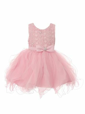 1f5d780fc Baby Girls Pink Rhinestone Bow Lace Pearl Adorned Flower Girl Dress 6-24M