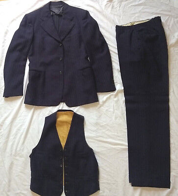 Vintage 1940s Mens Pinstripe Midnight Blue Wool 3 Pc Suit Sz 38 Chest Button Fly