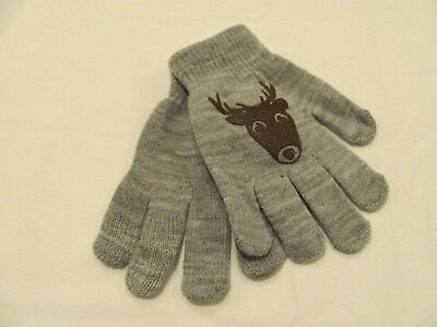 New One Size Fits Most Soft Stretchy Knit Boys Gloves - Gray With Buck Head