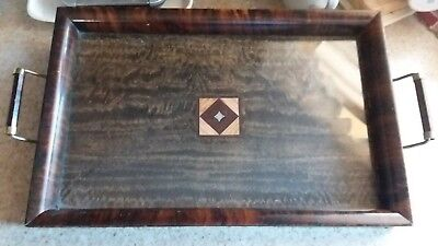 Antique Wooden Oblong Serving Tray With Handles