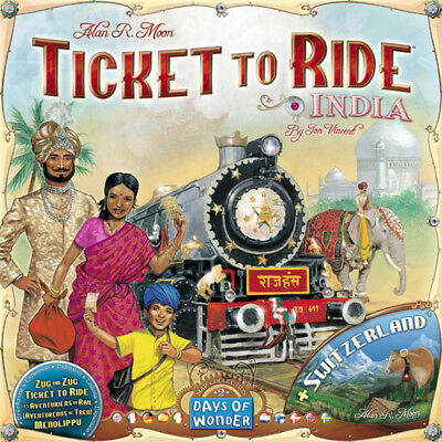 Ticket to Ride Map Collection 2 India + Switzerland, New by Asmodée Multilingual