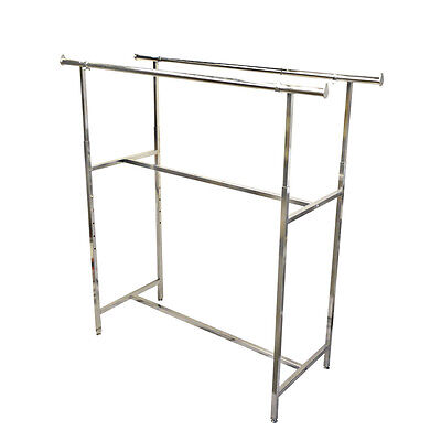 """48-72"""" Double Parallel Bar Clothes Garment Retail Display Rack Adjustable Height"""