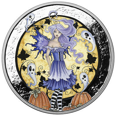 1 Oz Silver Coin Amy Brown Fairy Colorized Haunted Pumpkin Patch Halloween Coin