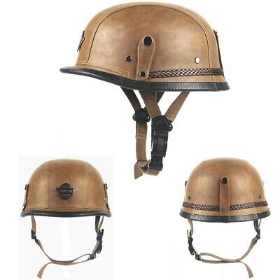 Retro Motorcycle Half Leather Helmet+Visor Brown Scooter Cruiser Chopper Biker