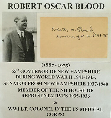 Wwii Governor New Hampshire Senator Colonel Medical Corps Blood Autograph Signed