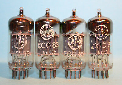 4x VALVO ECC83 12AX7 I60 30° GETTER VACUUM TUBES TESTED WITH STRONG EMISSIONS
