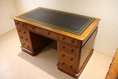 Victorian Golden Oak Antique Twin Pedestal Desk, c1870 *New Leather *Superb