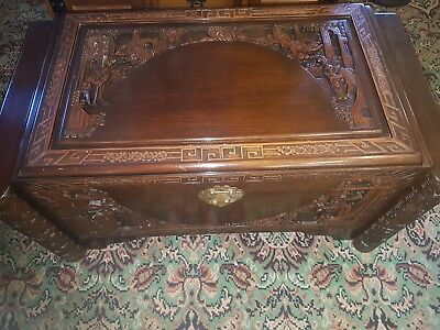 Oriental Carved Camphor Wood Blanket Box/Chest