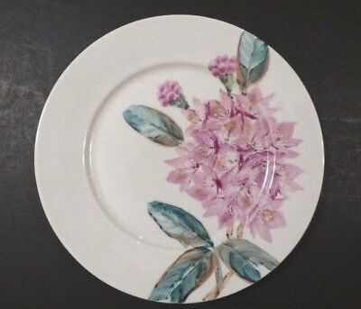 Vintage Hand Painted Porcelain Plate Pink Flower Rhododendron 10""