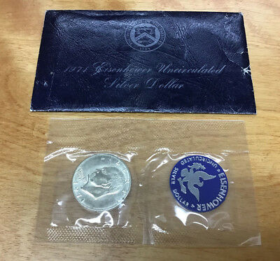 1971-S Eisenhower Dollar In Original Blue Envelope - 40% Silver - No Reserve!