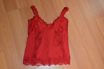 Frederick's Of Hollywood Cami Camisole RED Tank Small NWOT Lace Sexy