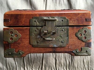 Vintage Wood and Brass Chinese Jewelry Box, Lined
