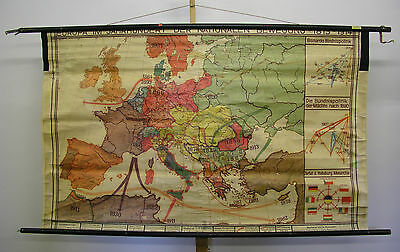 Schulwandkarte Old School Map before 1945 Europa Nationale Motion > 1914