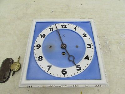 Very Rare Art Deco HAC Enameled Porcelain Kitchen Wall Clock With Pendulum