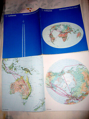 Lufthansa Airline World Route Maps.