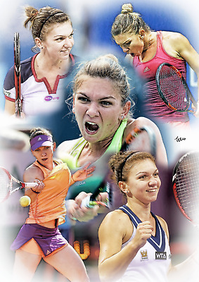 Simona Halep Unframed Pencil Drawing Art Numbered Print