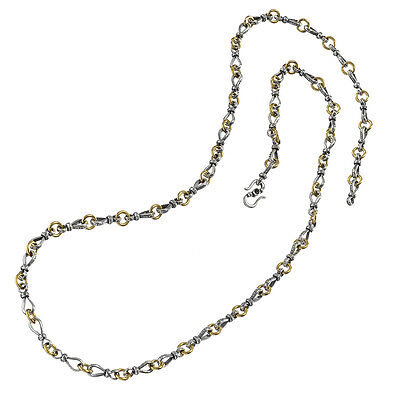 Gerochristo P4068N ~ Sterling & Gold Plated Silver Byzantine Chain Necklace
