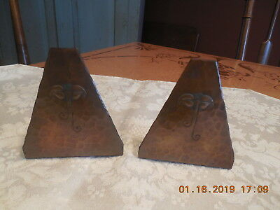 Vtg/antique Arts & Crafts Hammered Copper Art Deco Bookends  Not Signed
