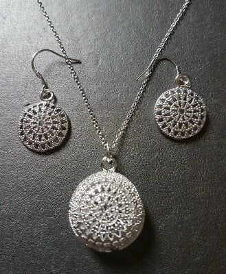 Wholesale 925 Sterling Silver Round Mesh Pendant & Earrings Inc Free Giftbox