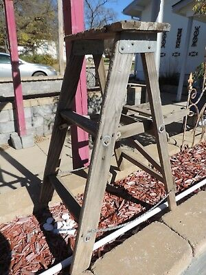 Antique Vintage Weathered Wood Folding Step Ladder Rustic Farmhouse Garden Decor