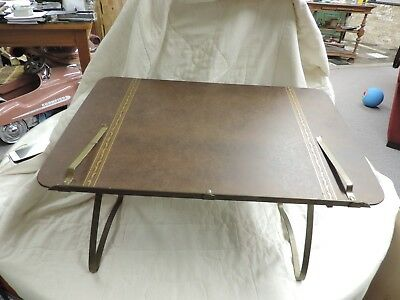 Vintage Ponten All Purpose Folding Stand Adjustable Arms Brown Gold Lap Table