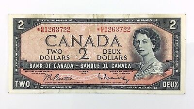 1954 Canada 2 Two Dollar BB Prefix Canadian Circulated Replacement Banknote I385