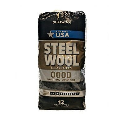 DuraWool Premium Steel Wool #0000 Super Fine - CASE of 72 Pads (six 12 pad bags)